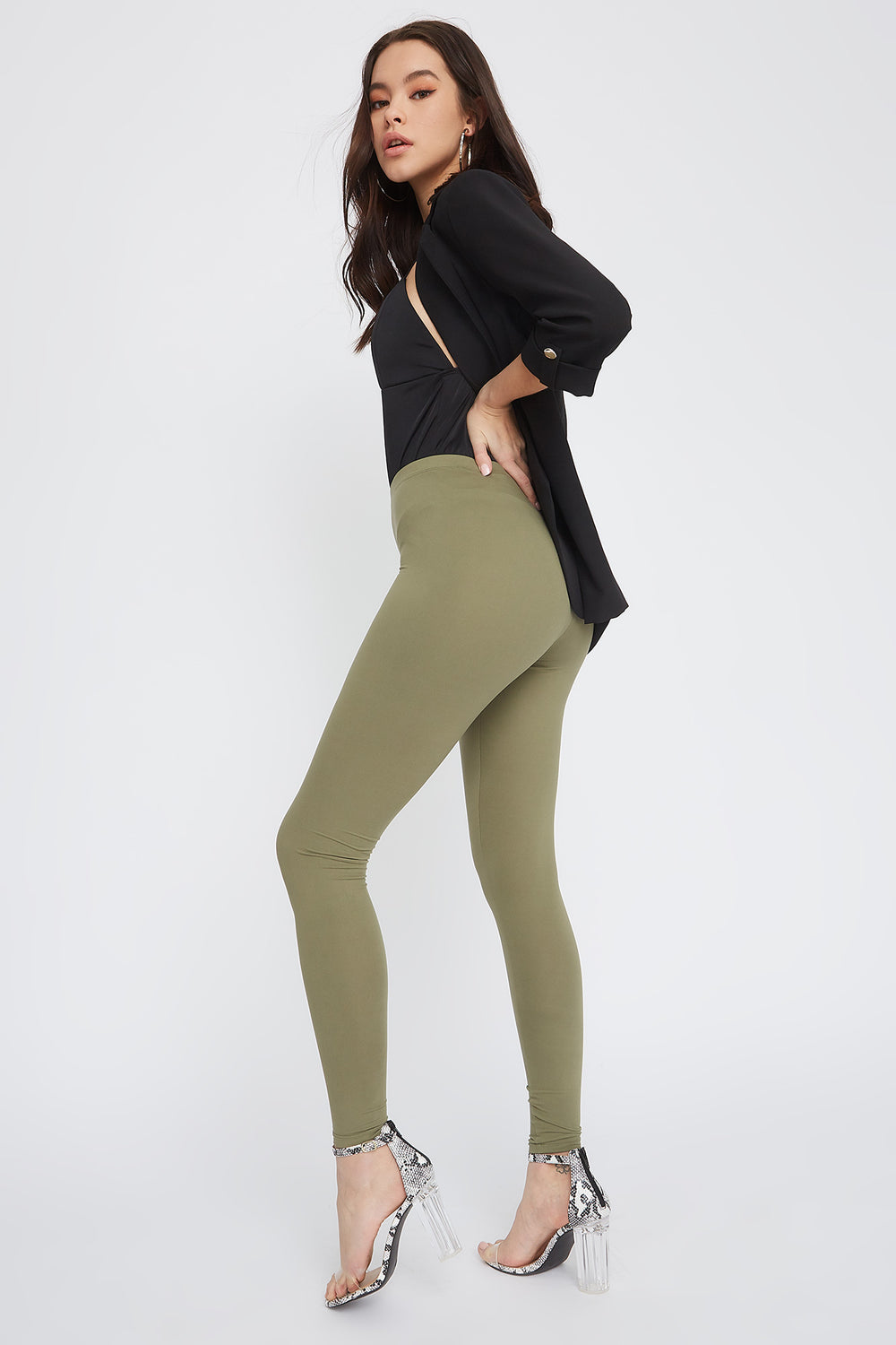 Soft Basic High-Rise Legging Dark Green