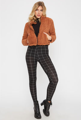 Legging doux de base à carreaux