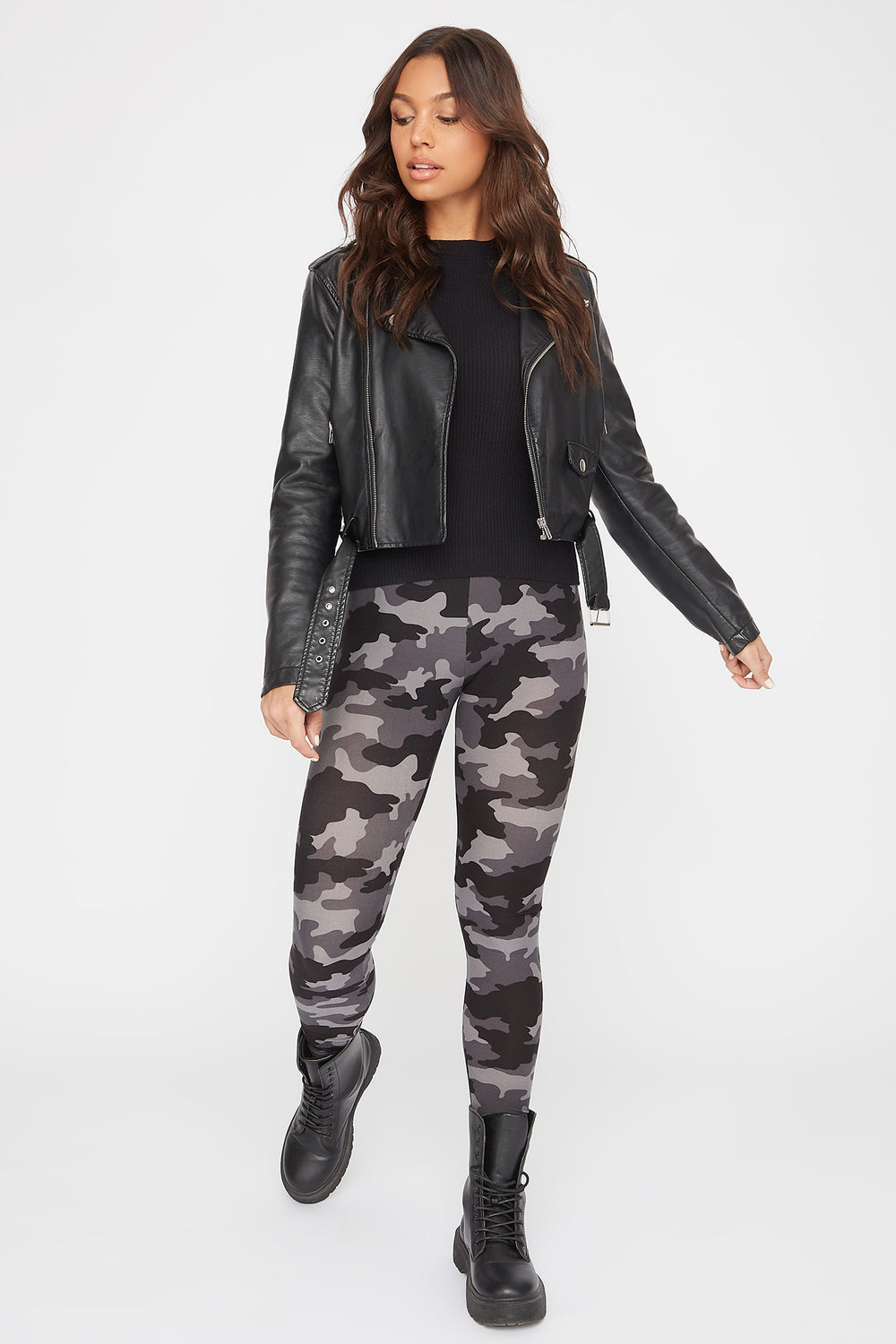 Camo Printed Leggings Charcoal
