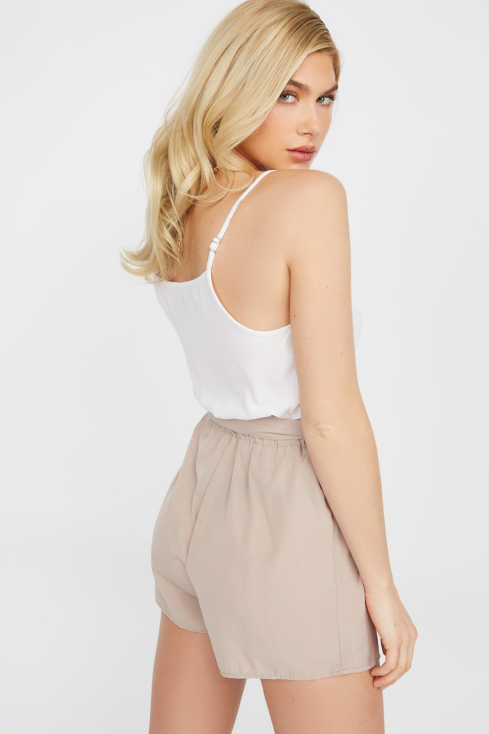 Combi-short camisole contrastant Taupe
