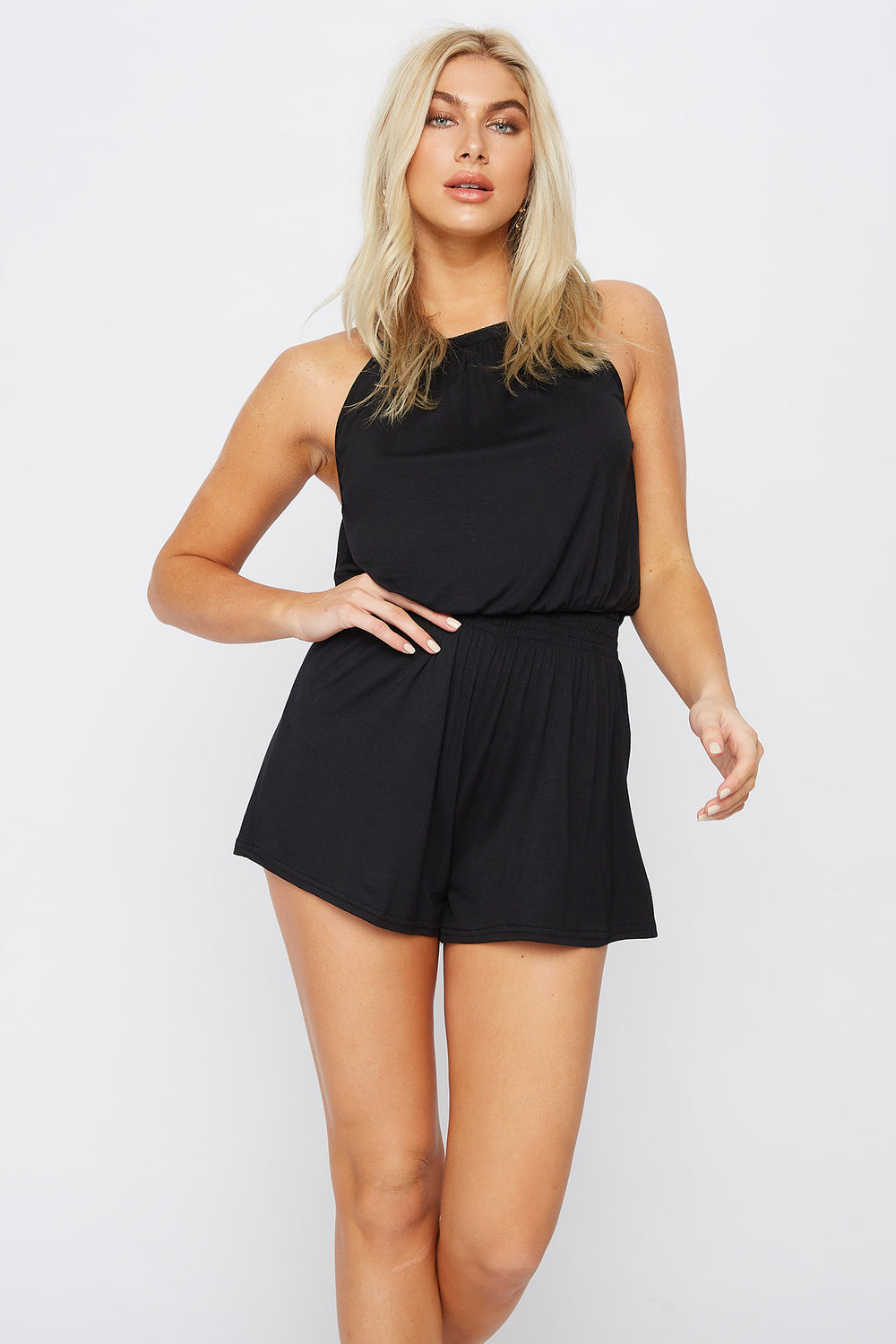 High Neck Smocked Romper Black