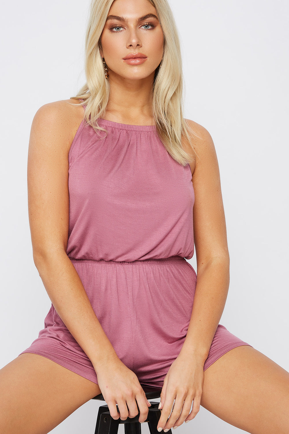 High Neck Smocked Romper Mauve