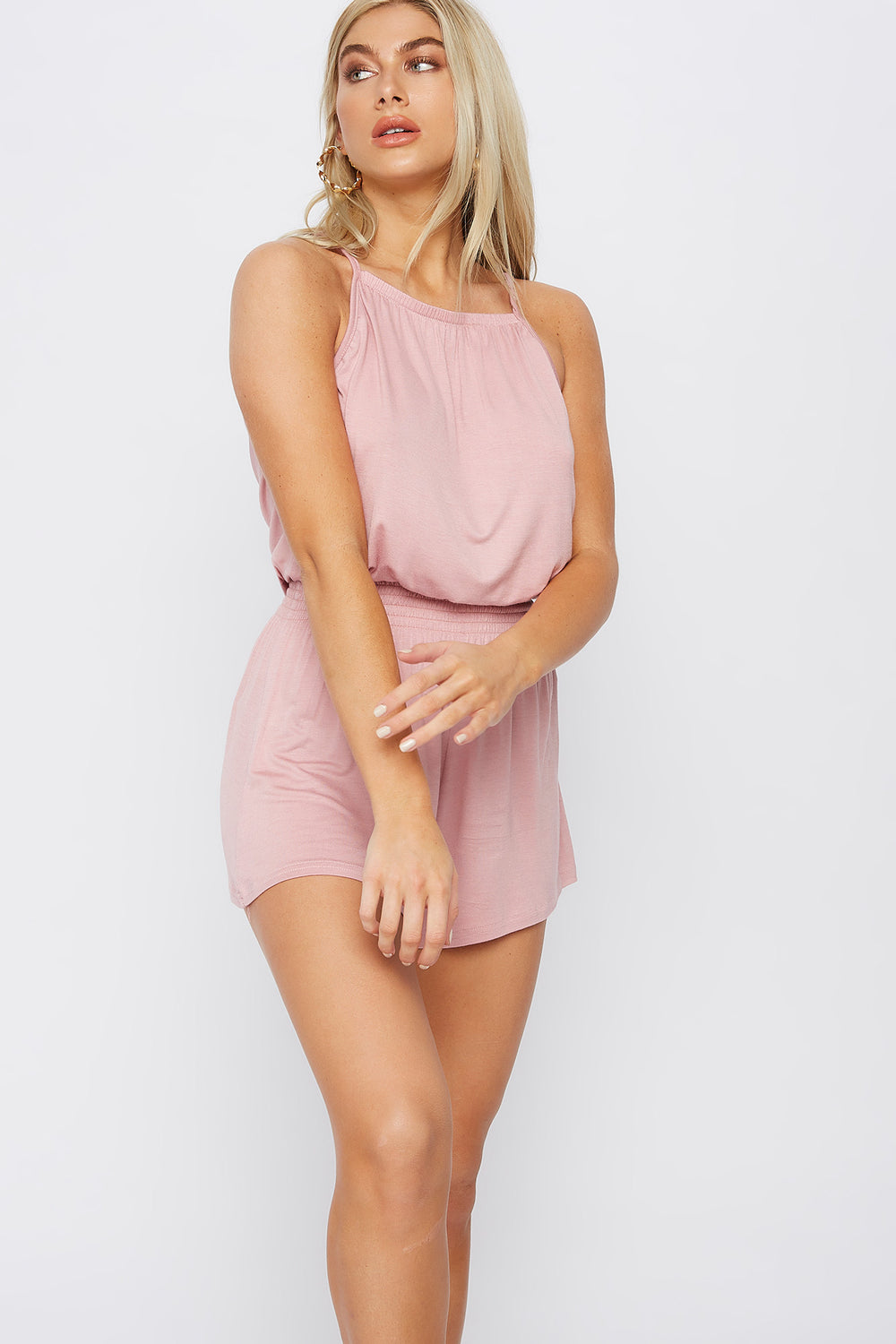 High Neck Smocked Romper Dusty Rose