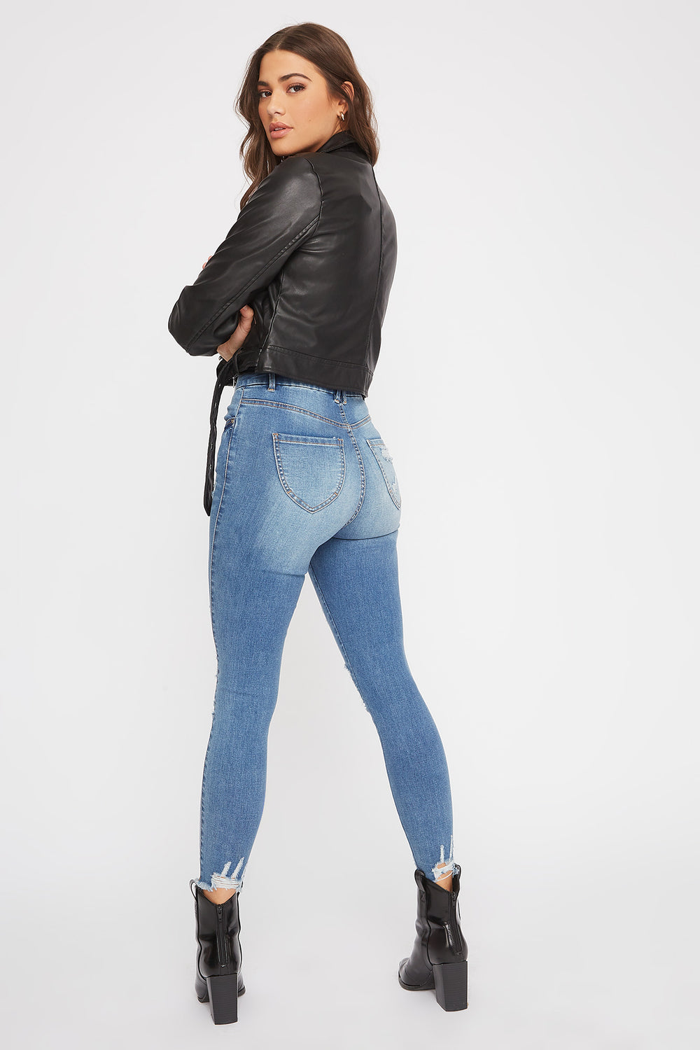 Ultra High-Rise Curvy Distressed Skinny Jean Denim Blue