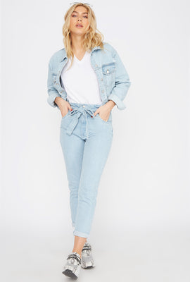High-Rise Paperbag Belted Skinny Jean
