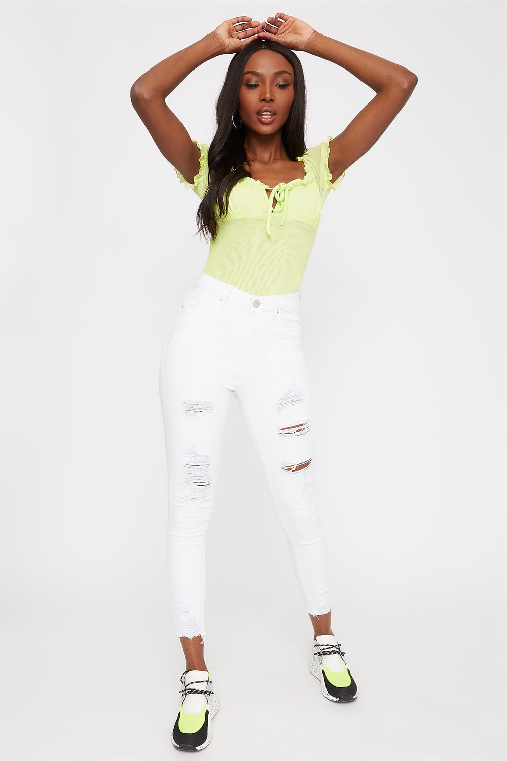 White Distressed High-Rise Raw Hem Skinny Jean White