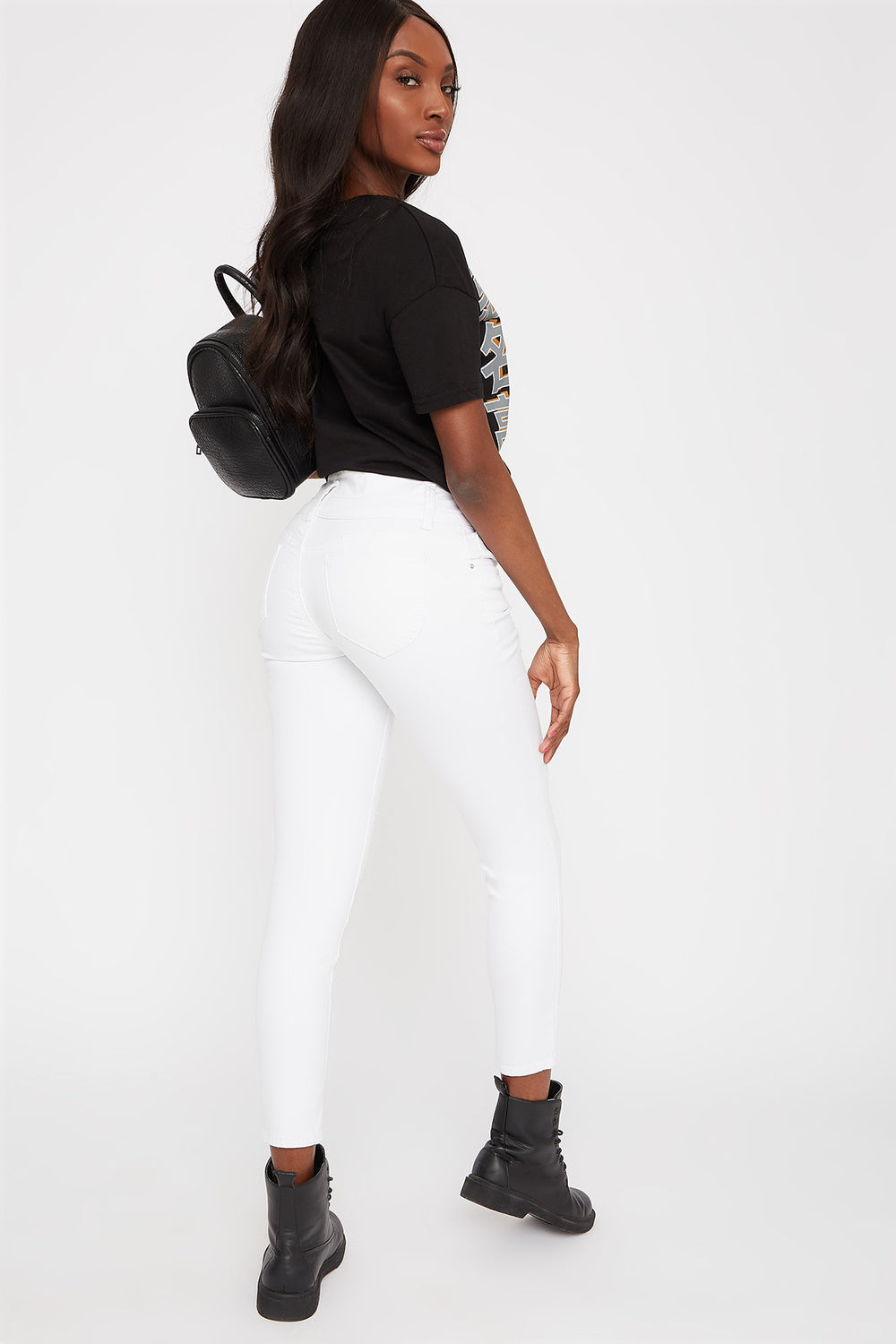 White 3-Tier High-Rise Distressed Skinny Jean White