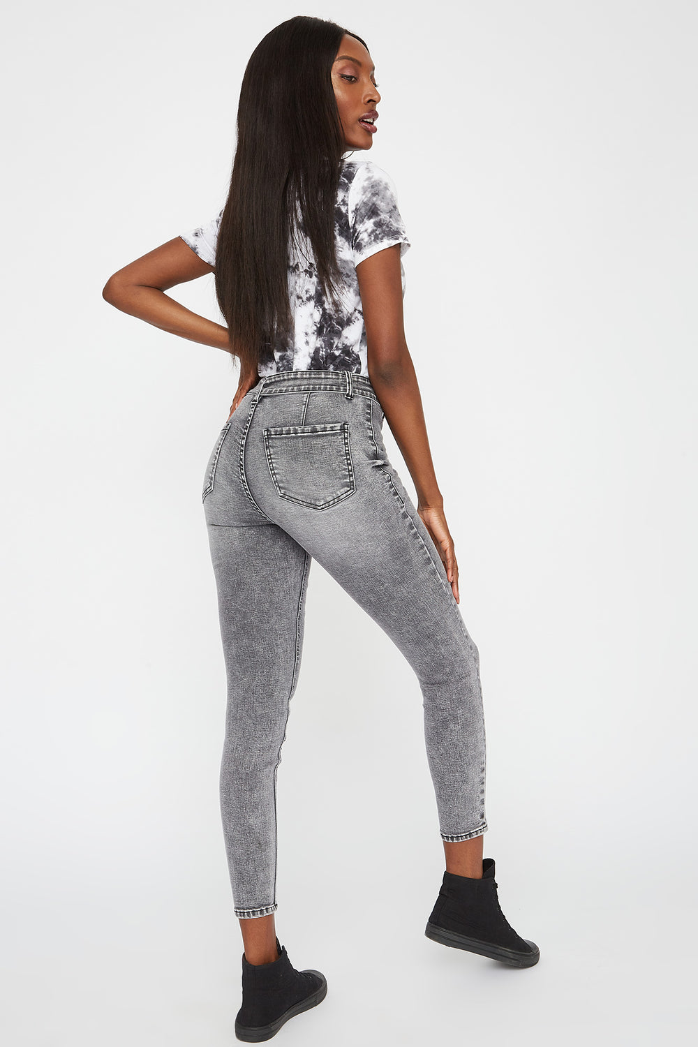 High-Rise Belted Skinny Jegging Heather Grey