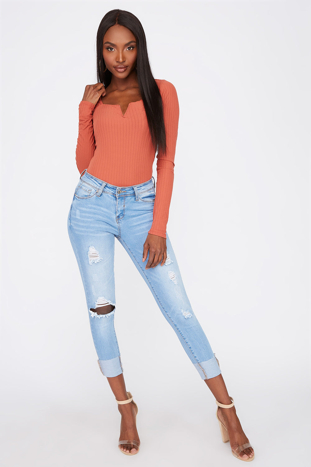 Butt, I Love You Distressed Push-Up Cuffed Jean Light Denim Blue