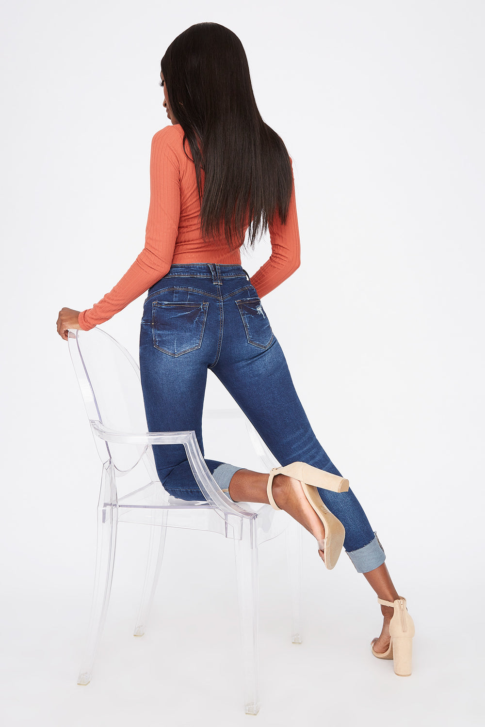 Butt, I Love You Distressed Push-Up Cuffed Jean Denim Blue