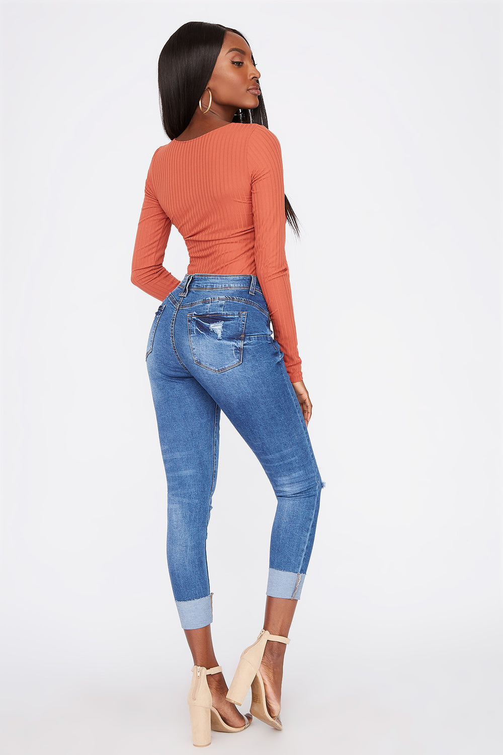 Butt, I Love You Distressed Push-Up Cuffed Jean Medium Blue