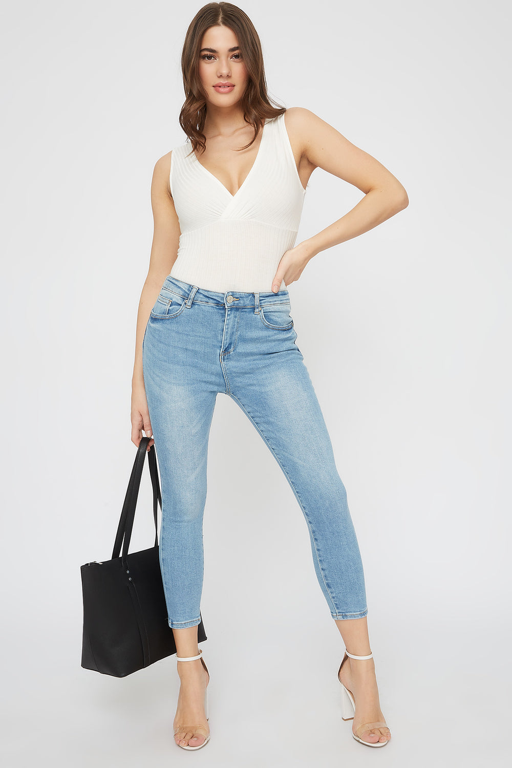 Butt, I Love You High-Rise Cropped Push-Up Skinny Jean Light Denim Blue