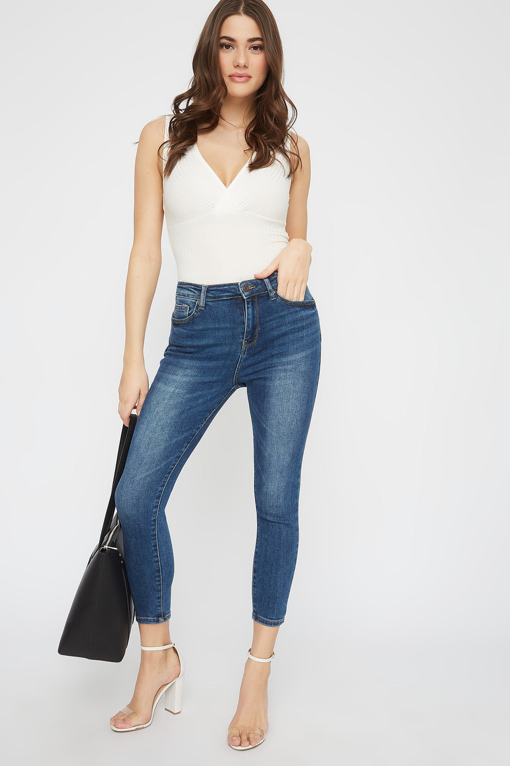 Butt, I Love You High-Rise Cropped Push-Up Skinny Jean Denim Blue