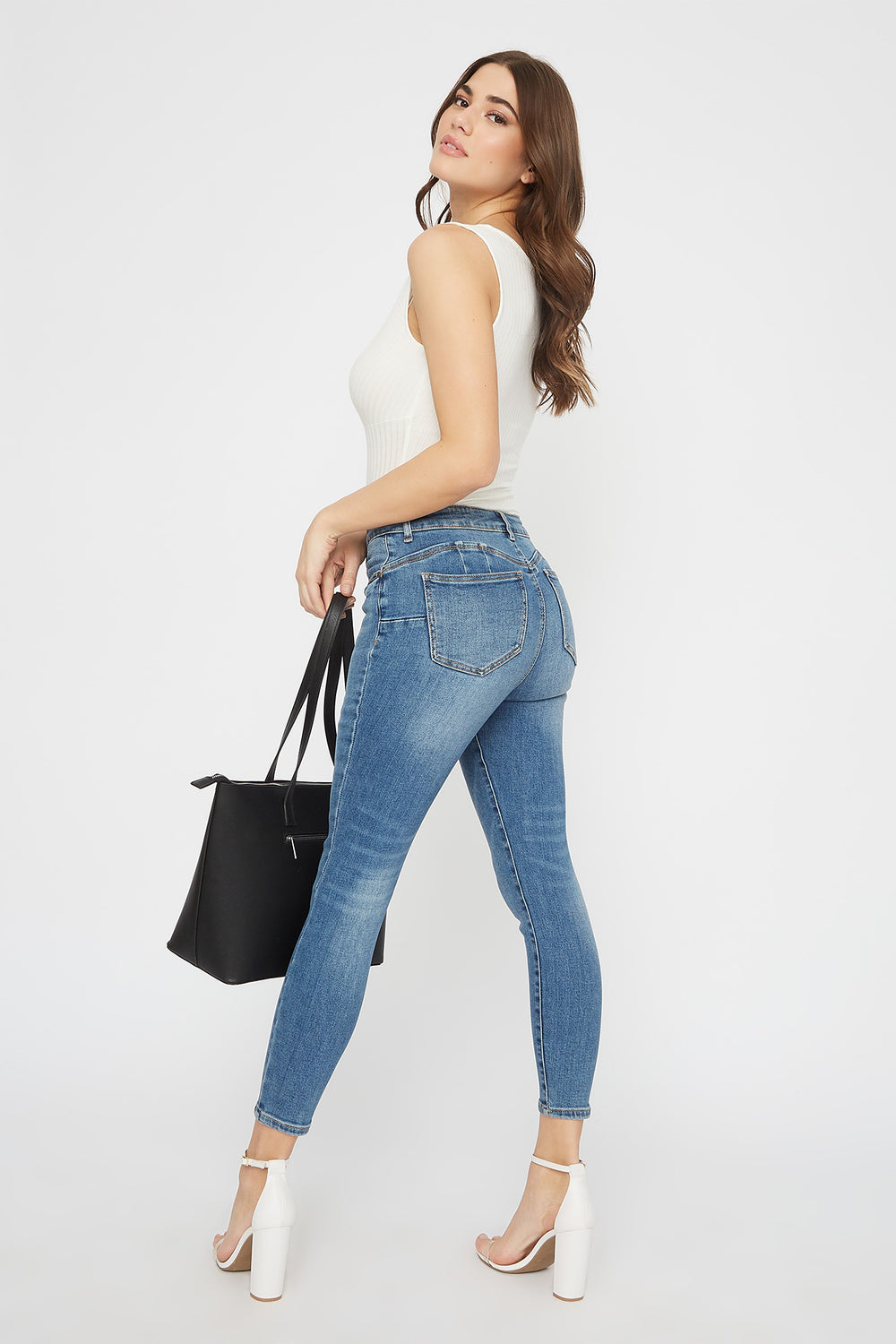 Butt, I Love You High-Rise Cropped Push-Up Skinny Jean Medium Blue