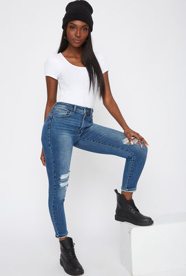 Butt, I Love You High-Rise Distressed Push-Up Cuffed Skinny Jean