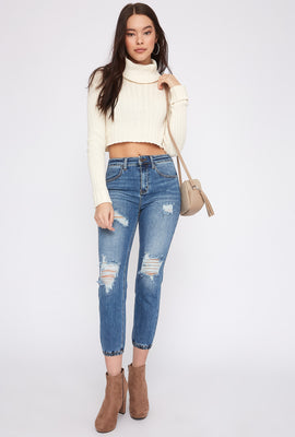 High-Rise Distressed Denim Jogger
