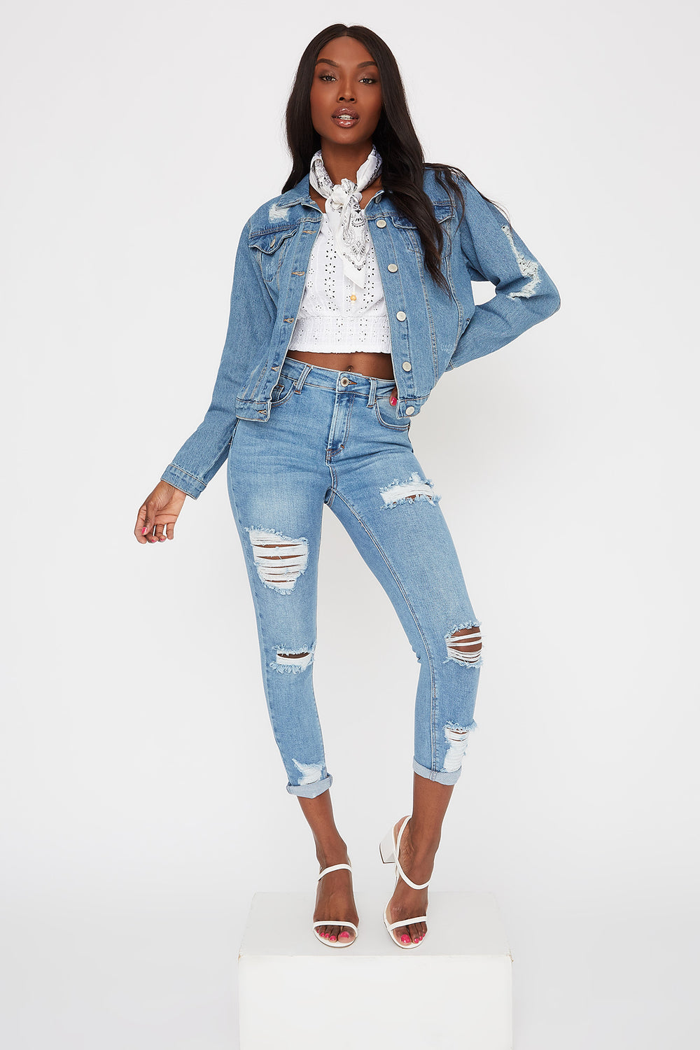 High-Rise Distressed Push-Up Cuffed Ankle Skinny Jean Light Denim Blue