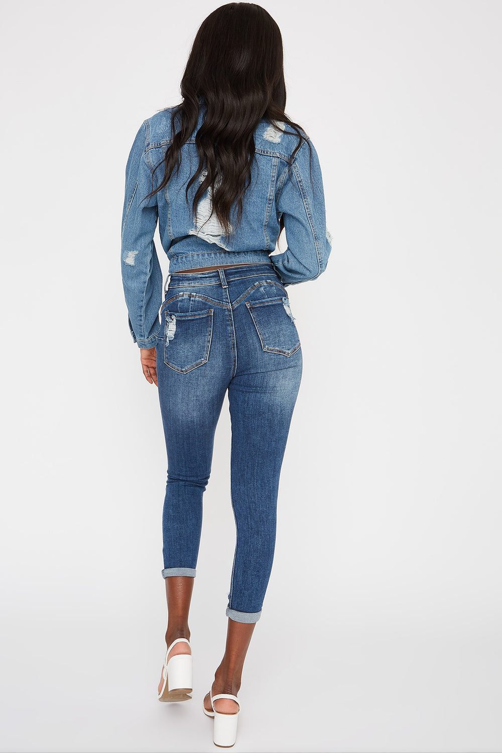 High-Rise Distressed Push-Up Cuffed Ankle Skinny Jean Denim Blue