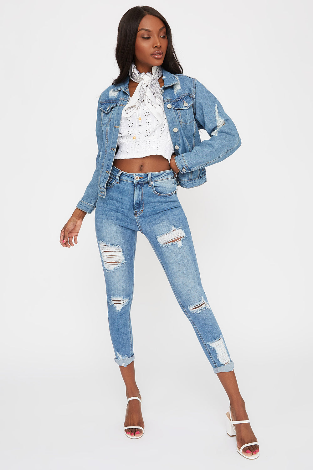 High-Rise Distressed Push-Up Cuffed Ankle Skinny Jean Medium Blue