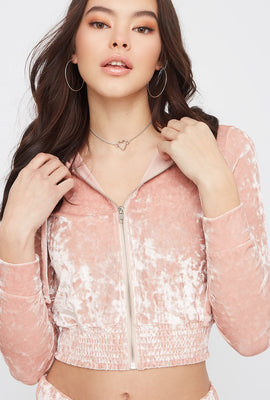 Super Soft Cropped Crushed Velvet Pajama Hoodie