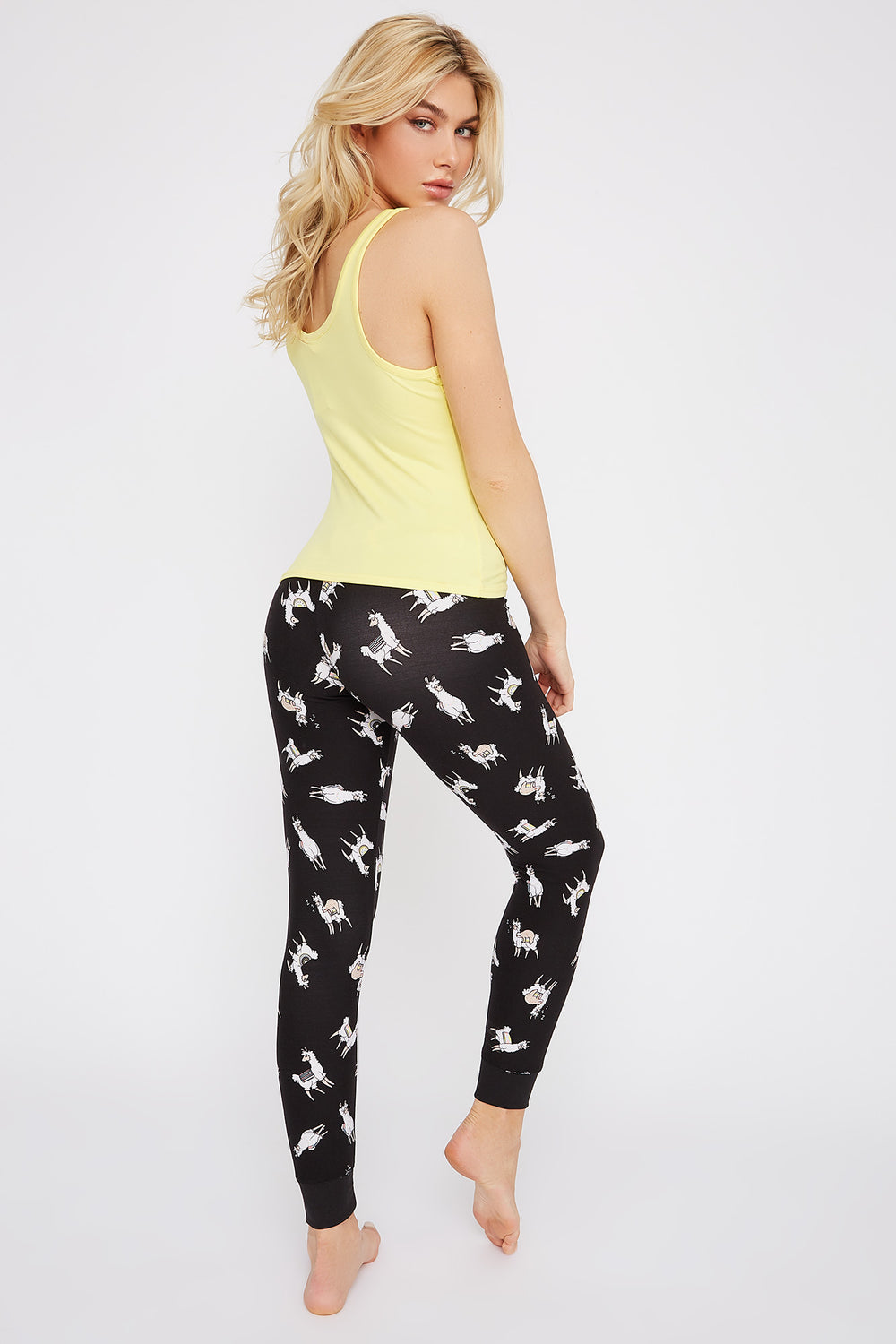 Soft Graphic Pajama Tank and Jogger Set With Scrunchie Yellow