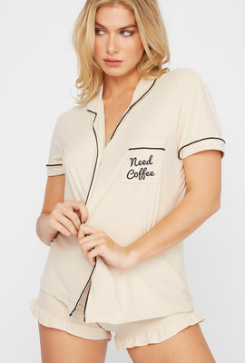 Soft Graphic Button-Up Pajama Set