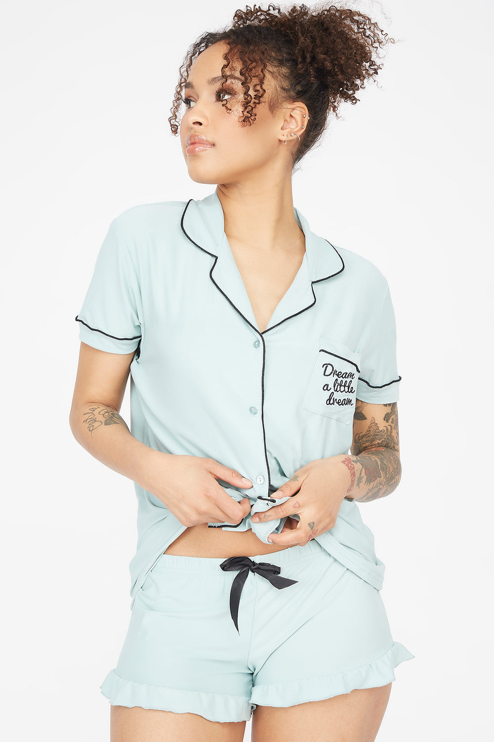 Soft 2-Piece Button-Up Embroidered Dream Short Sleeve Top With Shorts Pajama Set Aqua