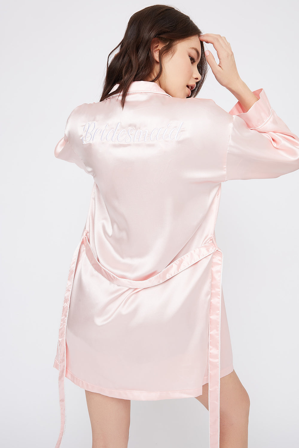 Satin Embroidered Bridesmaid Robe Light Pink