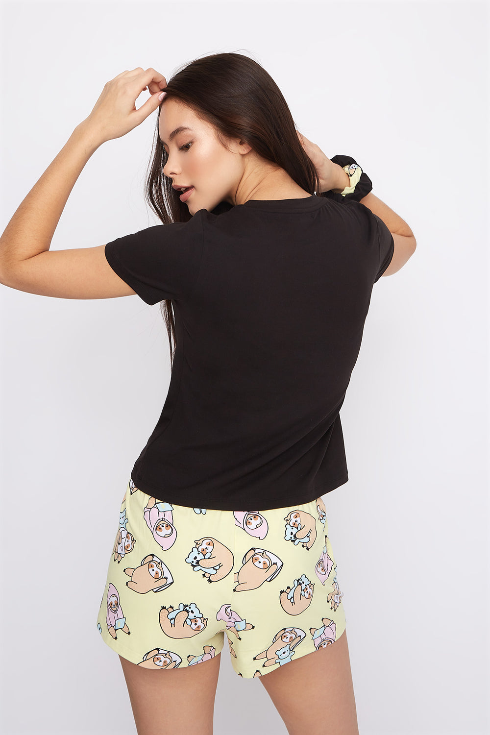 Graphic 3-Piece Pajama T-Shirt And Short Set With Scrunchies Black