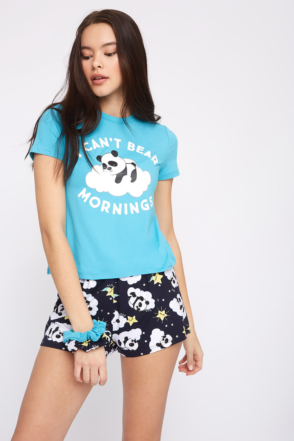 Graphic 3-Piece Pajama T-Shirt And Short Set With Scrunchies Aqua