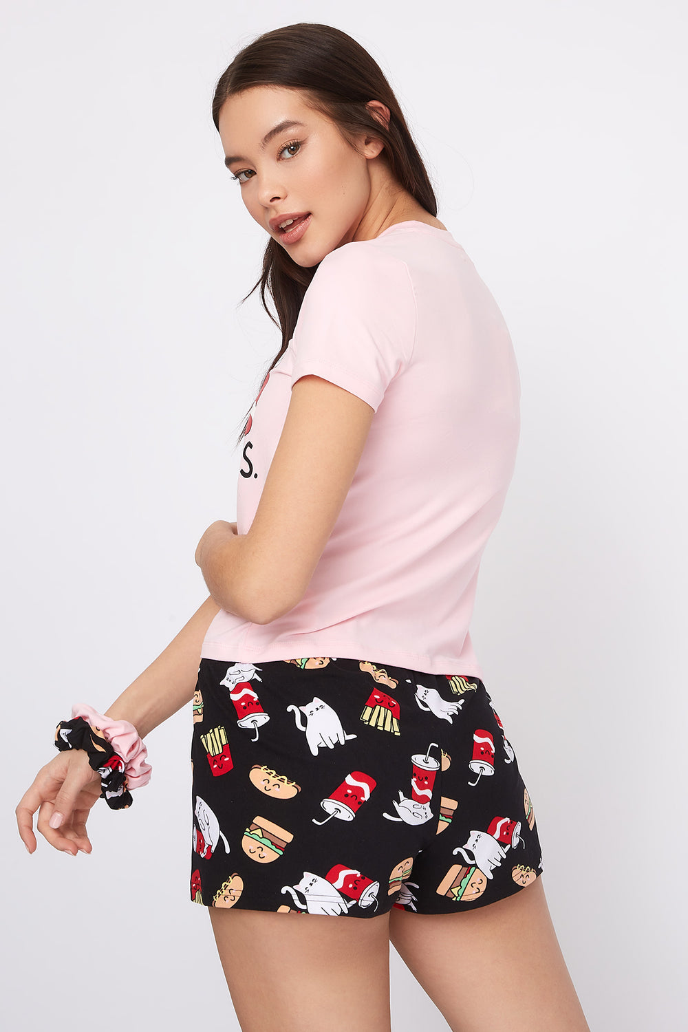 Graphic 3-Piece Pajama T-Shirt And Short Set With Scrunchies Rose