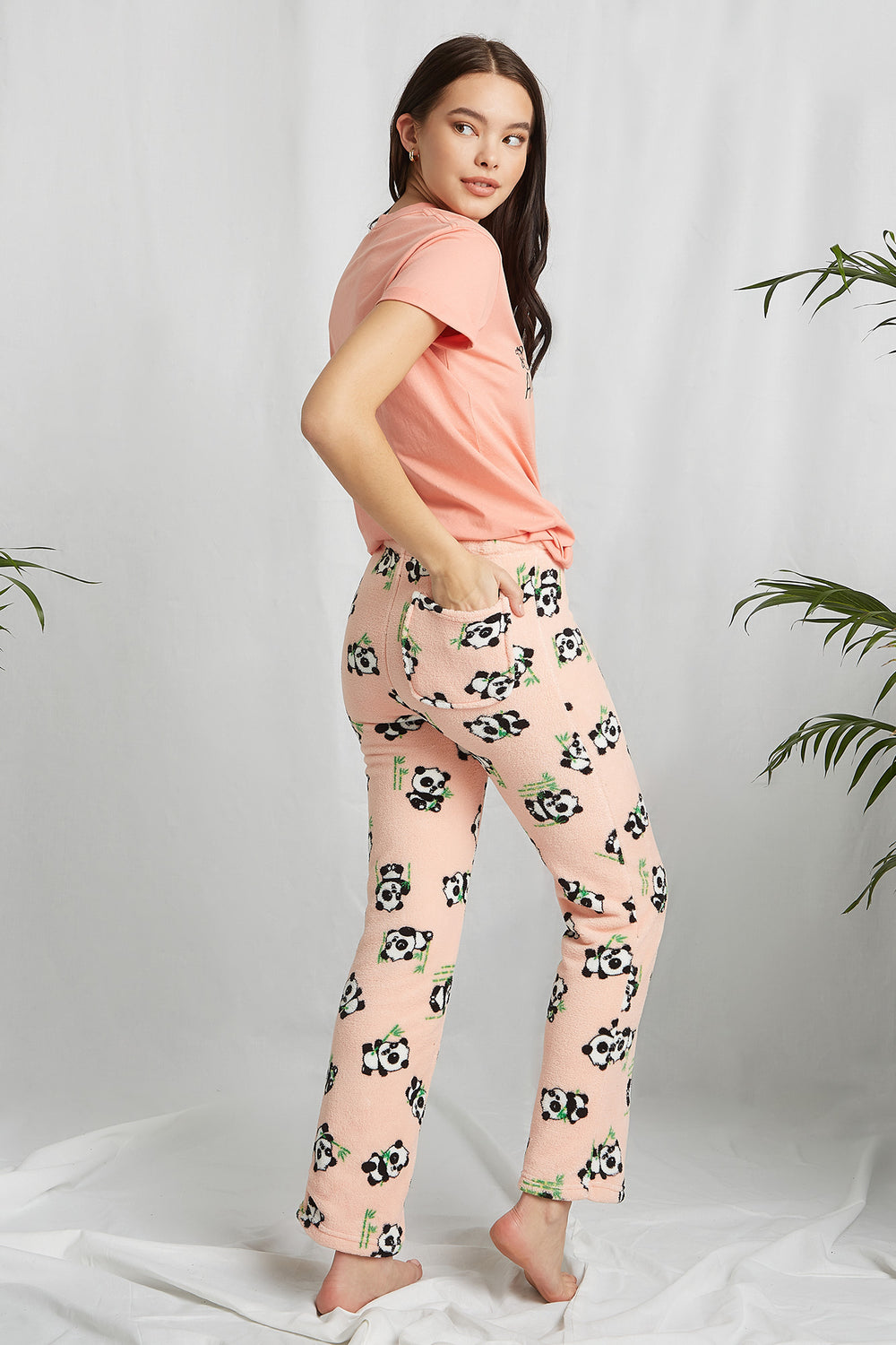 REPREVE® Eco-Friendly Recycled Polyester Graphic Pajama Pant Pink