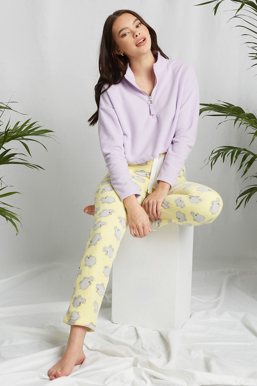 REPREVE® Eco-Friendly Recycled Polyester Graphic Pajama Pant Yellow