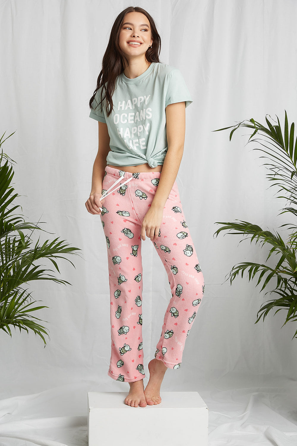 REPREVE® Eco-Friendly Recycled Polyester Graphic Pajama Pant Light Pink