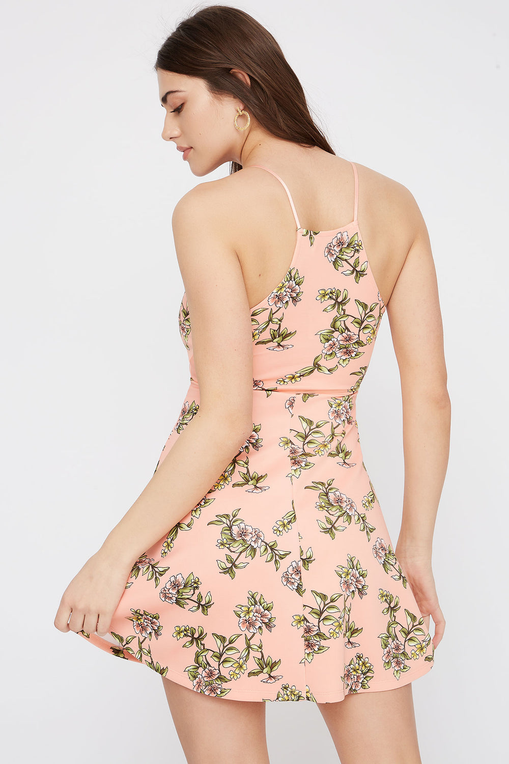 High Neck Floral Skater Dress Peach