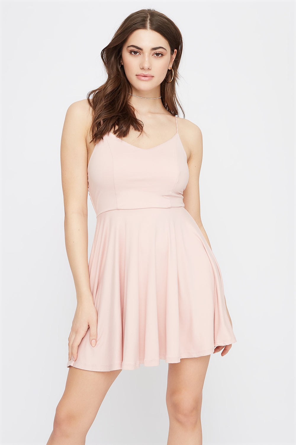 Soft V-Neck Criss Cross Back Skater Dress Rose