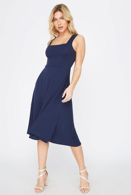 Crepe Square Neck Midi Dress
