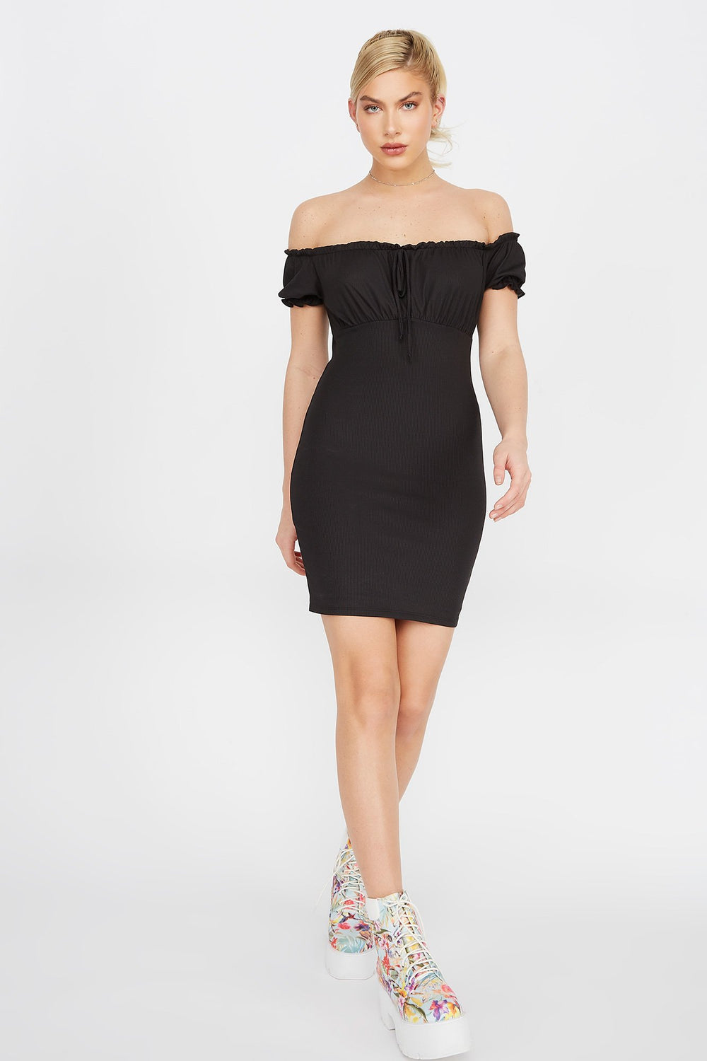 Ribbed Off The Shoulder Peasant Mini Dress Black