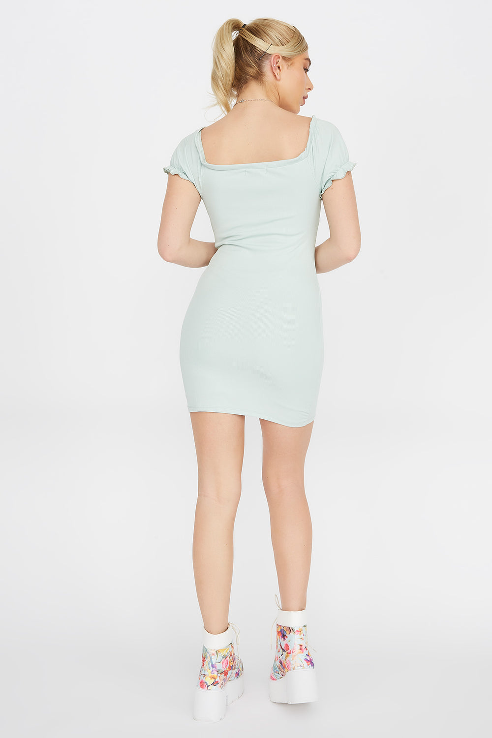 Ribbed Off The Shoulder Peasant Mini Dress Turquoise