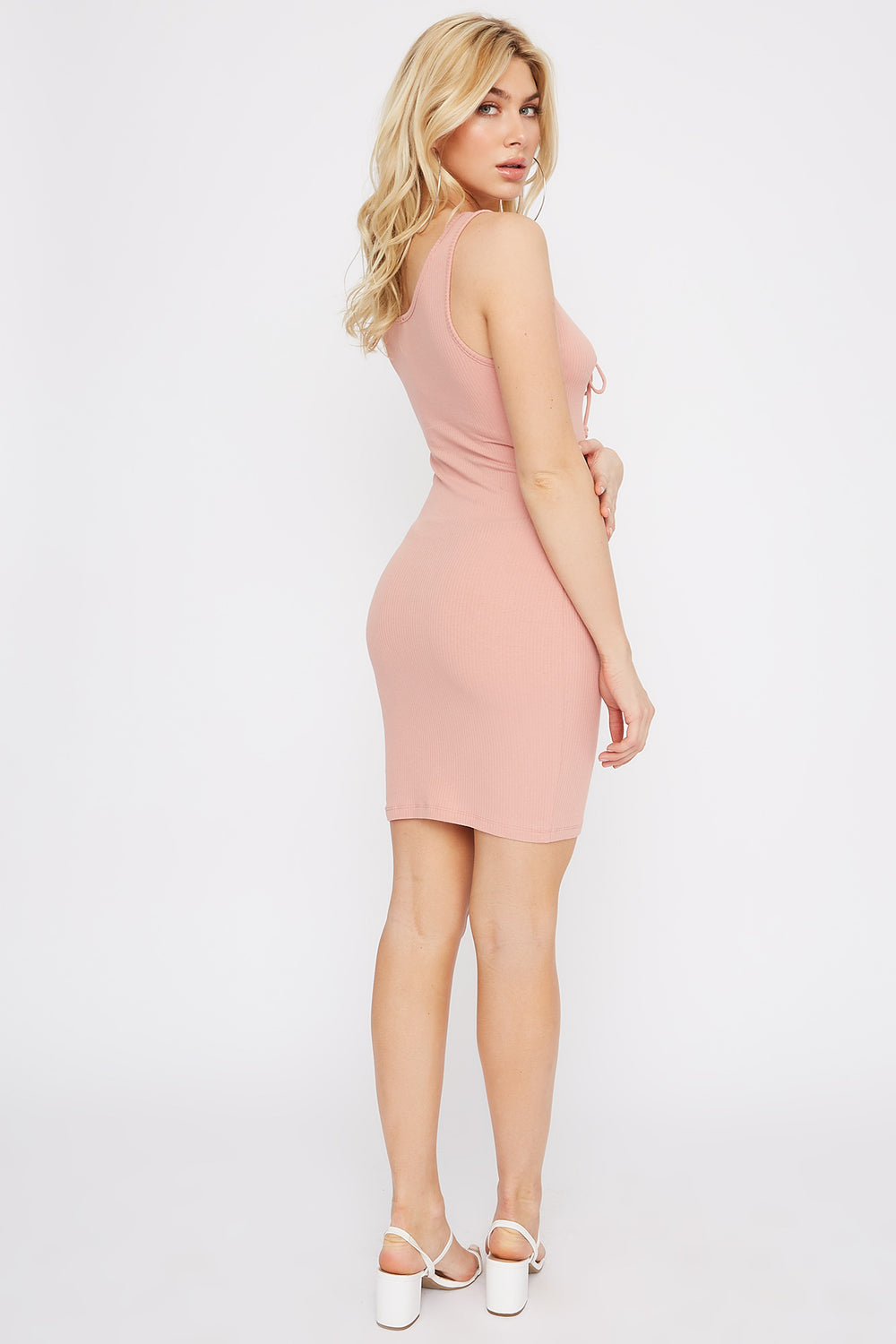 Ribbed Lace-Up Mini Dress Mauve