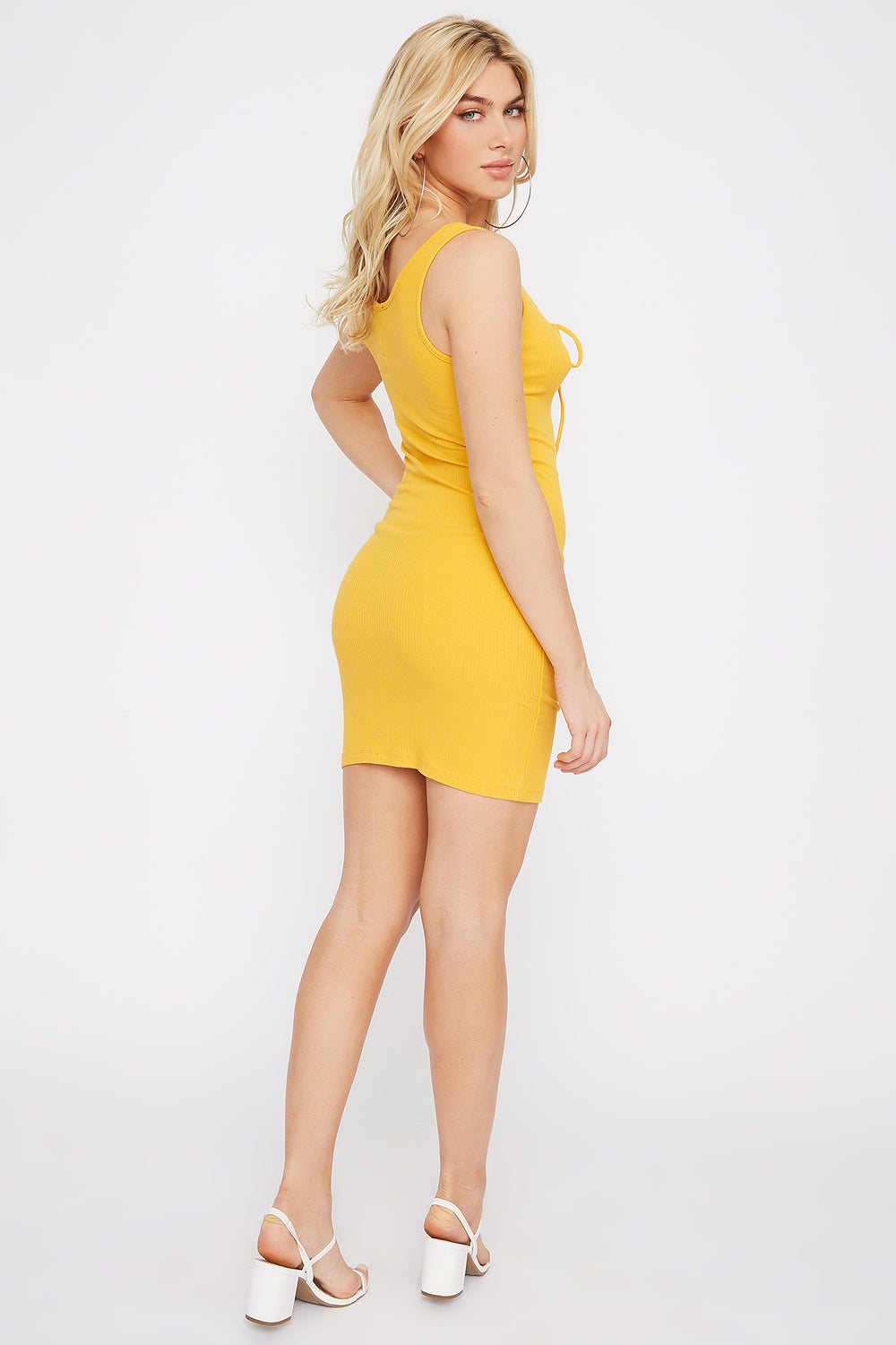 Ribbed Lace-Up Mini Dress Mustard