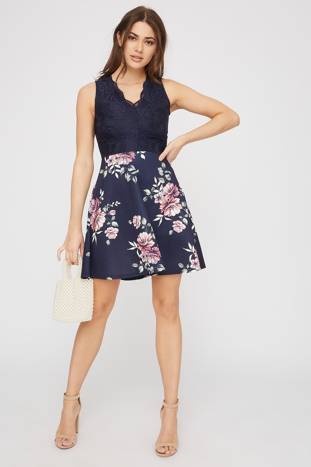 Contrast Lace Floral Skater Dress Dark Blue