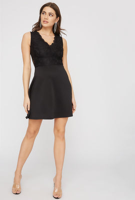 Contrast Lace Skater Dress