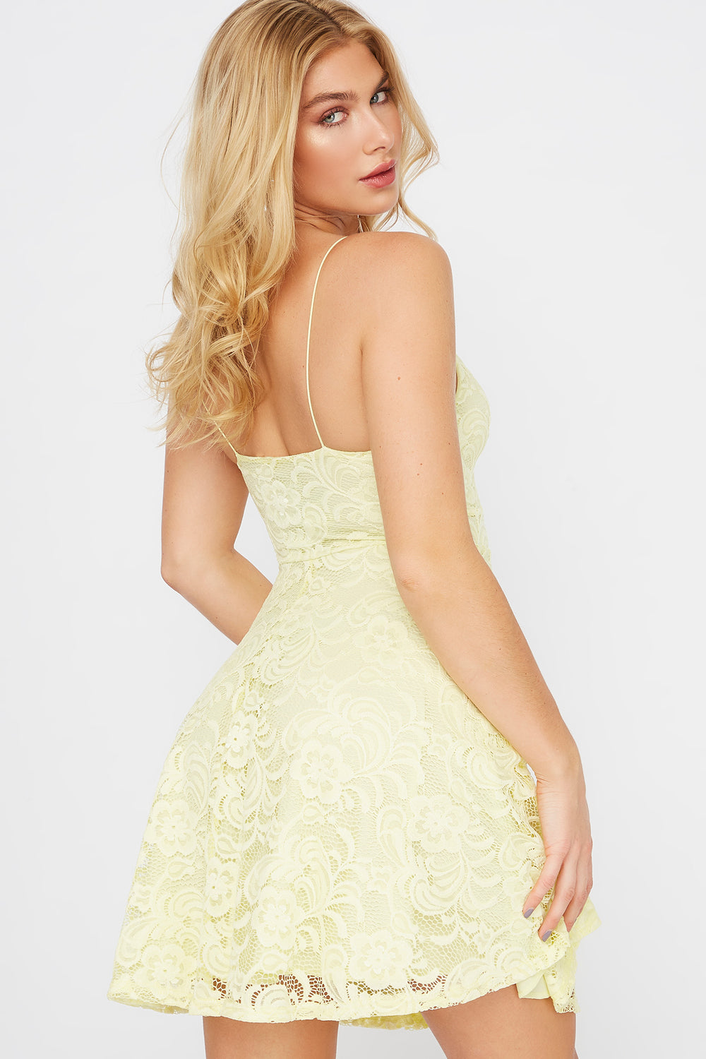 Lace Ruched V-Neck Skater Dress Yellow