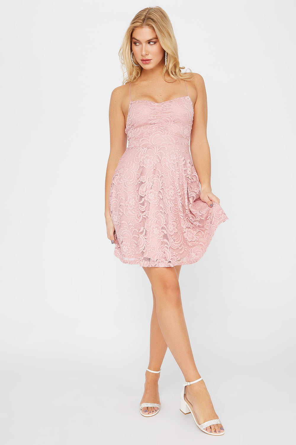 Lace Ruched V-Neck Skater Dress Dusty Rose