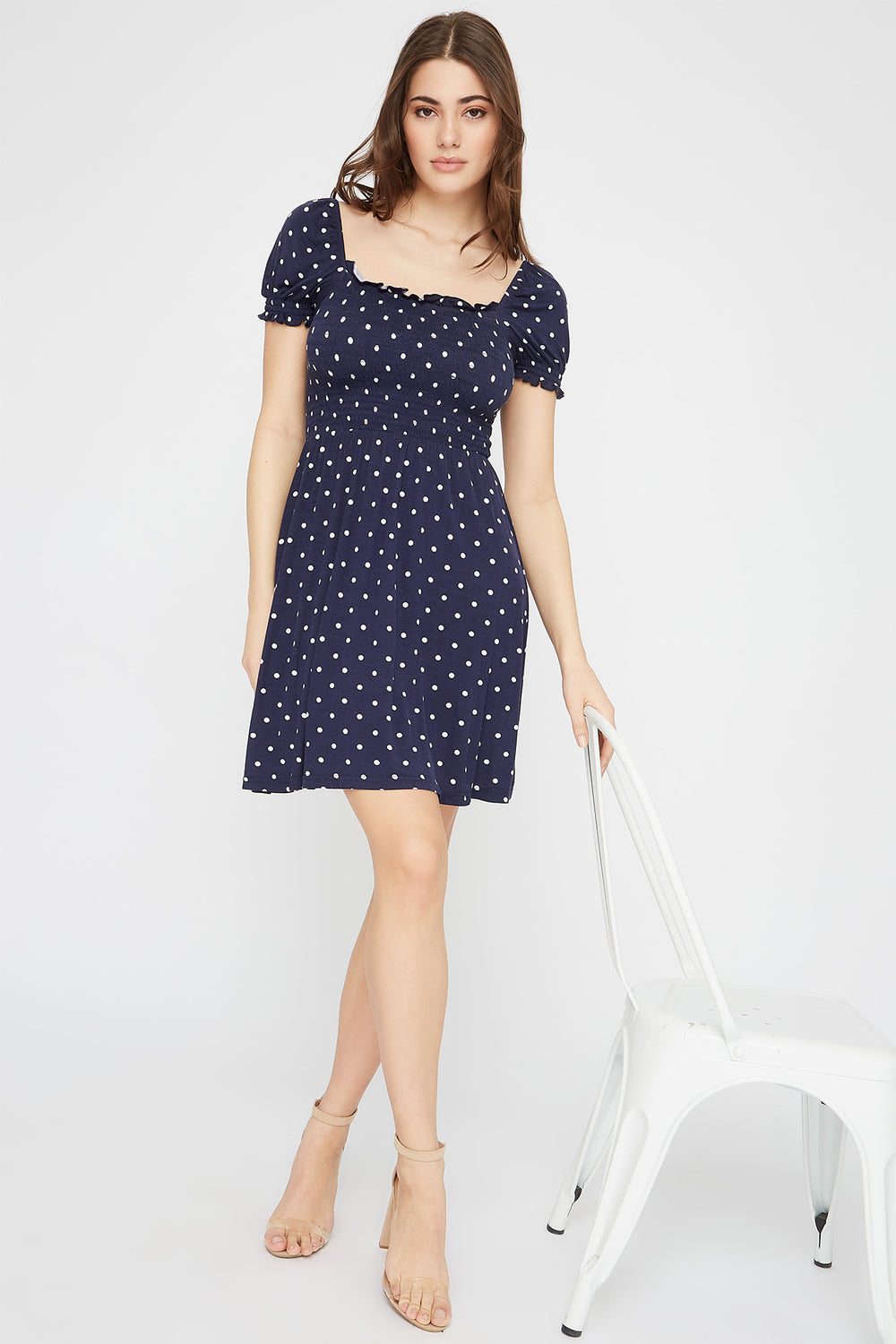 Printed Puff Sleeve Smocked Skater Dress Navy