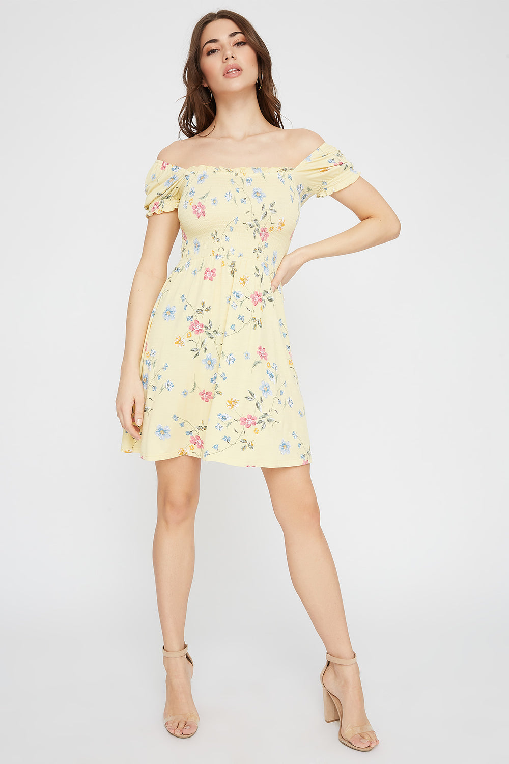 Printed Puff Sleeve Smocked Skater Dress Yellow