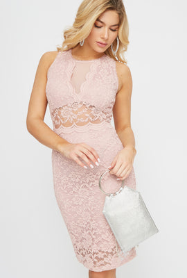 Lace Bodycon Sleeveless Mini Dress