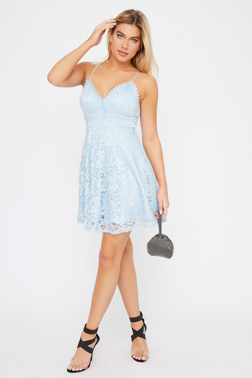 Lace Scallop Skater Dress Baby Blue