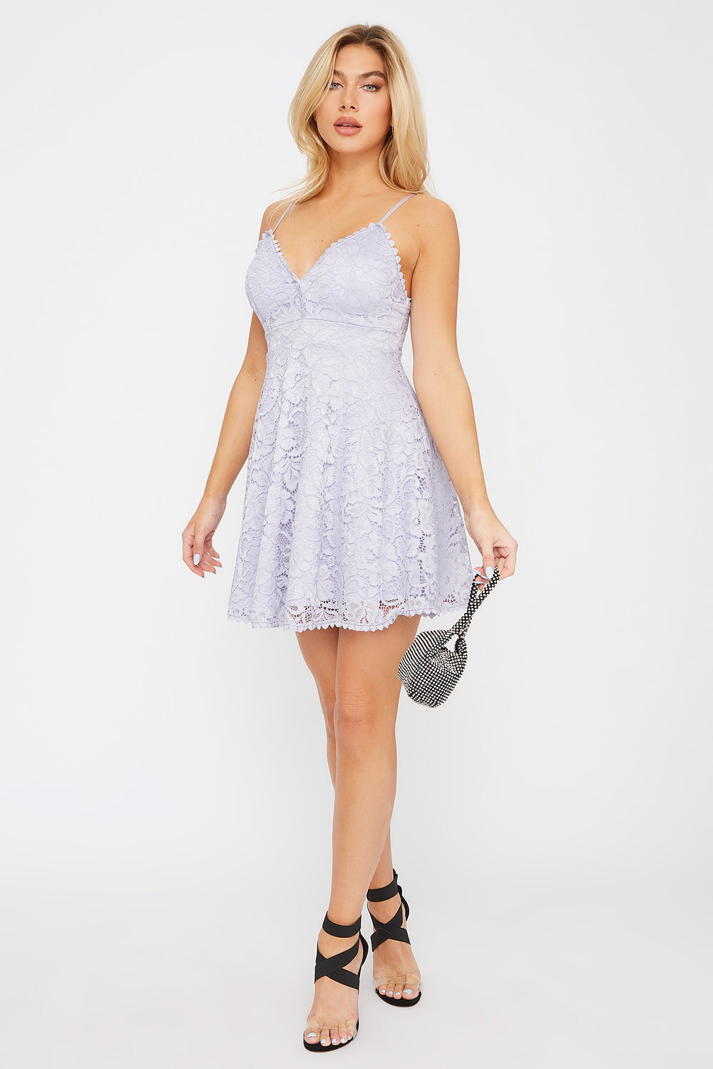 Lace Scallop Skater Dress Lilac